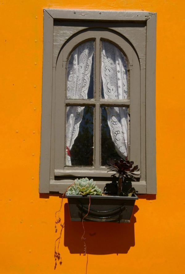 Fenêtre d'une vieille roulotte